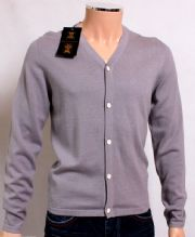 Holland Esquire Grey COTTON & SILK V Neck Cardigan Jumper Sweater SMALL *BNWT*